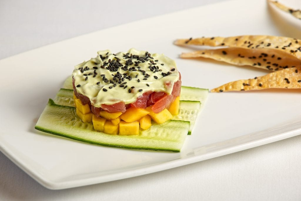 photo of mango tuna appetizer