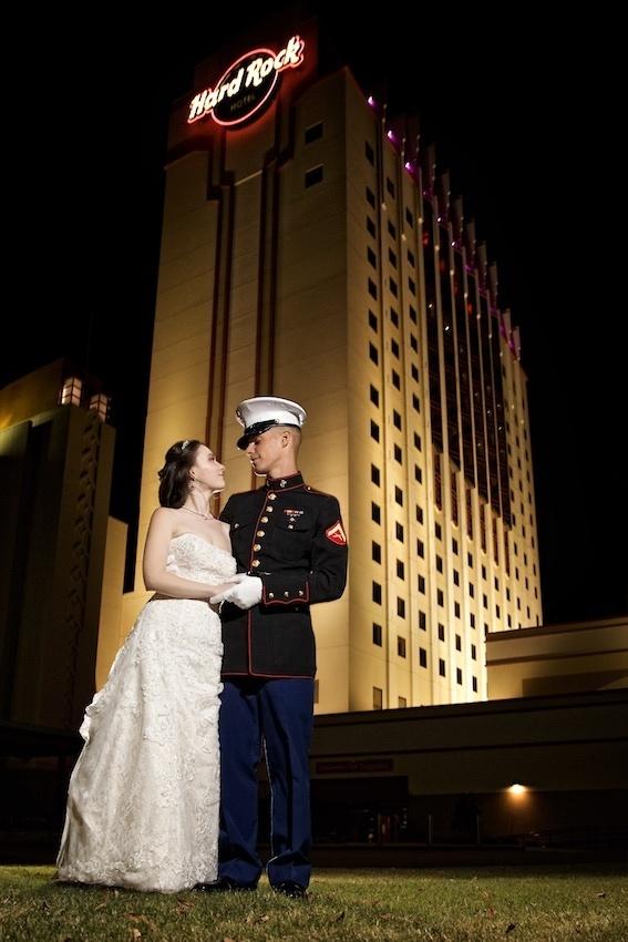 wedding photo outside the Hard rock hotel