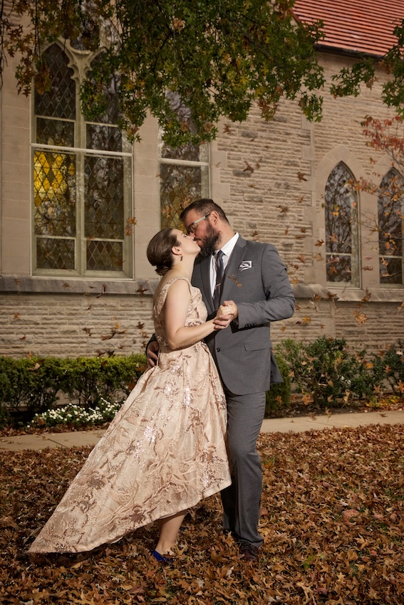 photo of wedding couple in fall