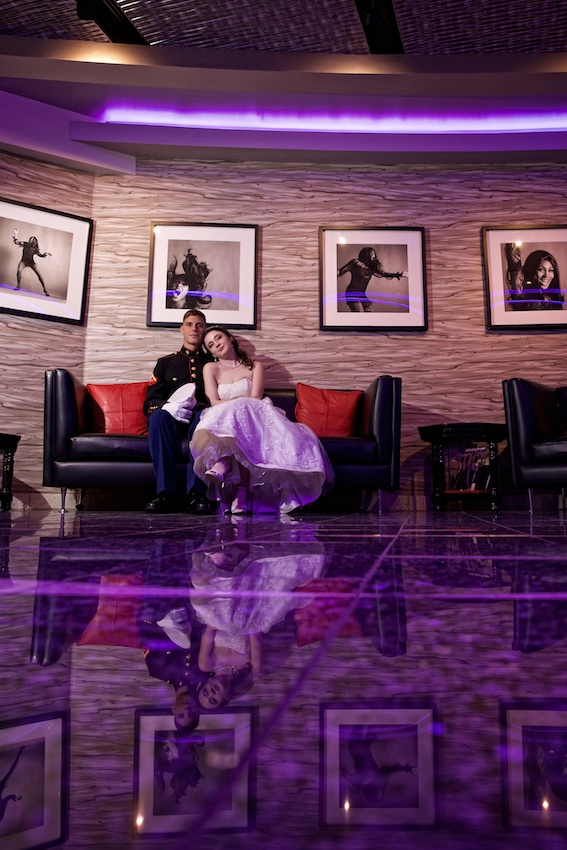photo of wedding couple in lobby of hard rock hotel