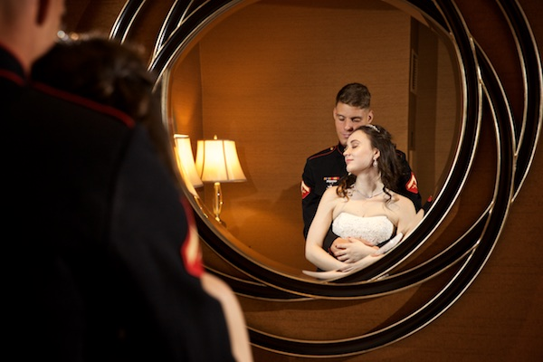Photo of wedding couple in mirror