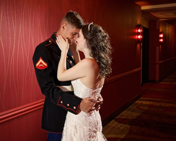 Photo of brida and groom at Hard rock hotel tulsa