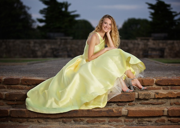 photo of high school senior in yellow dress