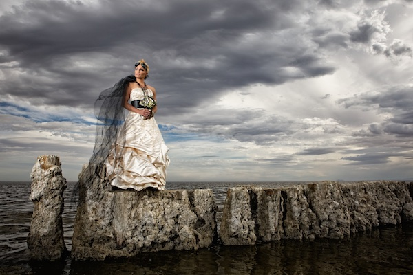 photo of bride at salton sea